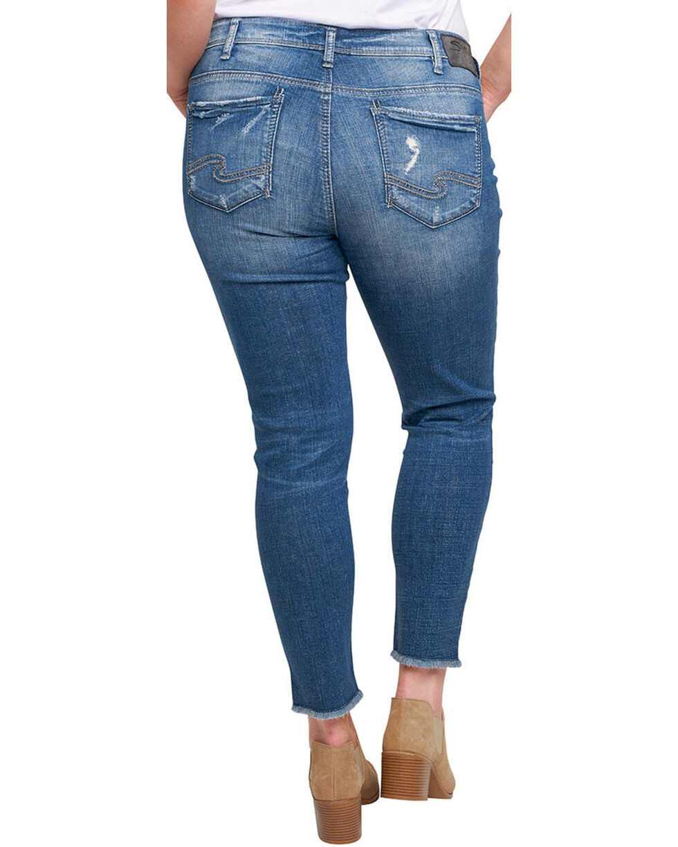Silver Women's Calley Ankle Skinny Jeans - Plus, Indigo, hi-res