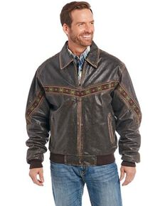 Cripple Creek Men's Leather Rodeo Jacket , Chocolate, hi-res