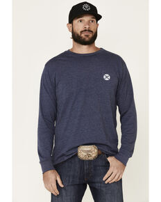 HOOey Men's Navy Retro Logo Graphic Long Sleeve T-Shirt, Navy, hi-res