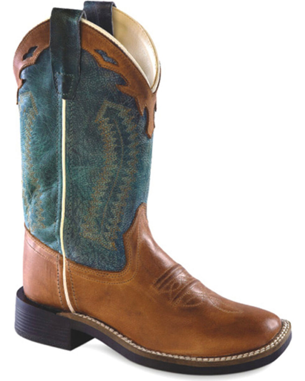 Old West Boys' Brown & Teal Western Boots - Square Toe, Brown, hi-res