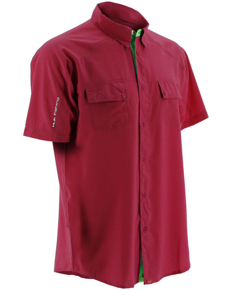 Huk Performance Fishing Men's Next Level Woven Short Sleeve Shirt , Red, hi-res