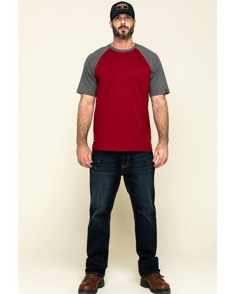 Hawx Men's Red Midland Short Sleeve Baseball Work T-Shirt , Red, hi-res