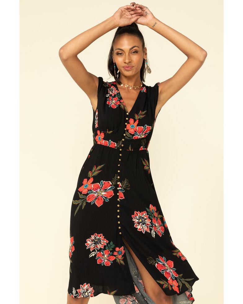 Shyanne Women's Black Floral Button Front Maxi Dress , Black, hi-res