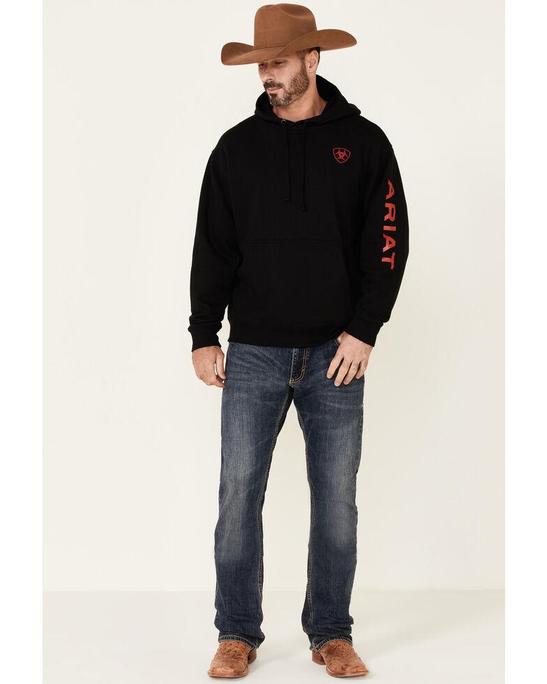 Ariat Men's Black Sleeve Logo Pullover Hooded Sweatshirt , Black, hi-res