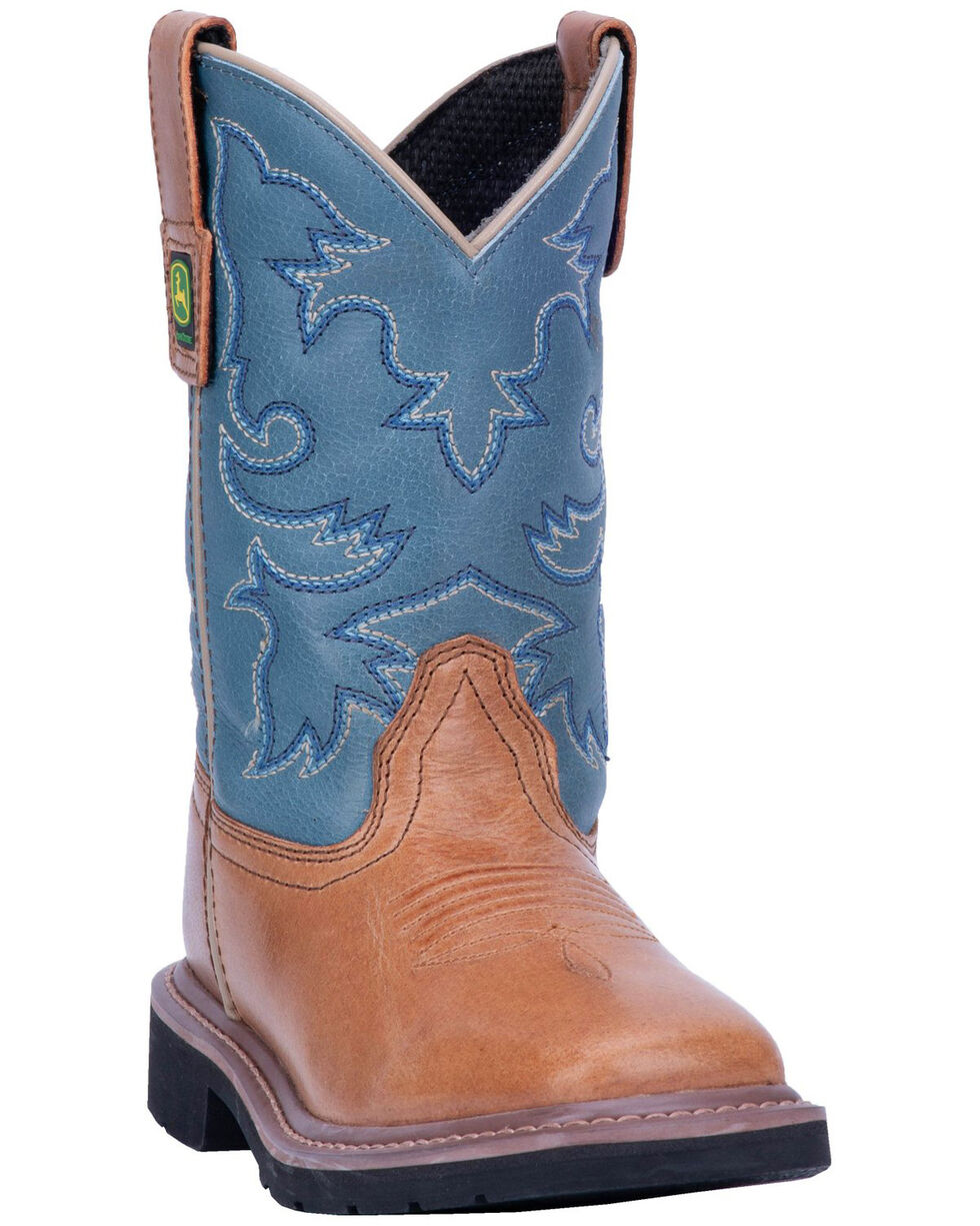 John Deere Boys' Johnny Popper Western Boots - Square Toe, Brown, hi-res