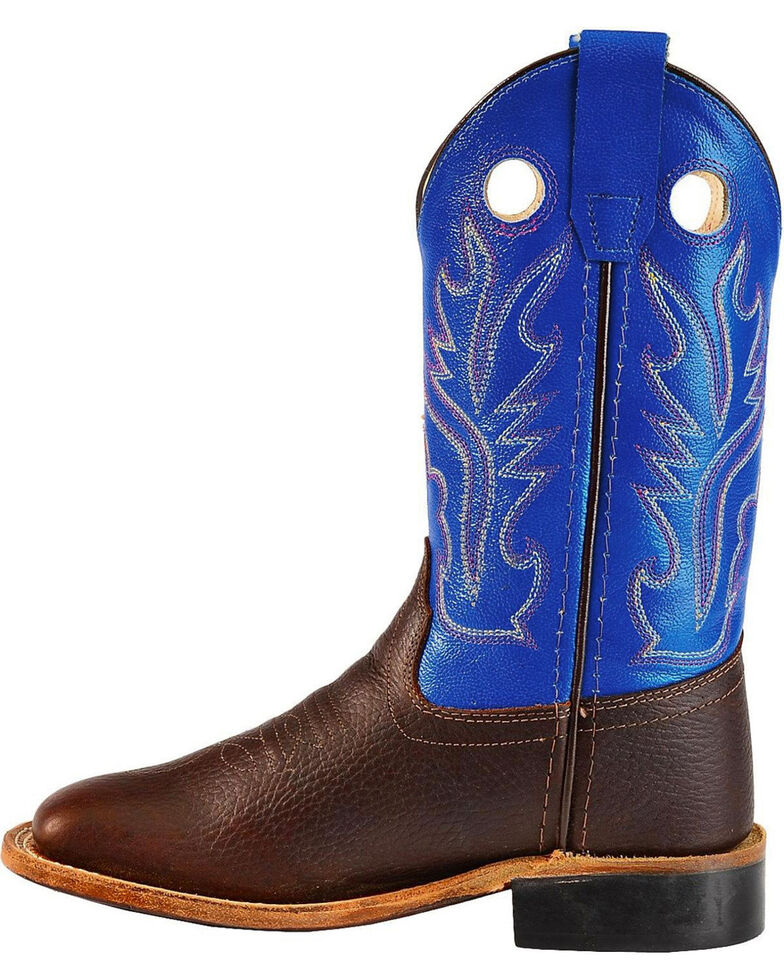 Cody James Boys' Brown/Blue Old West Cowboy Boots - Square Toe, Blue, hi-res