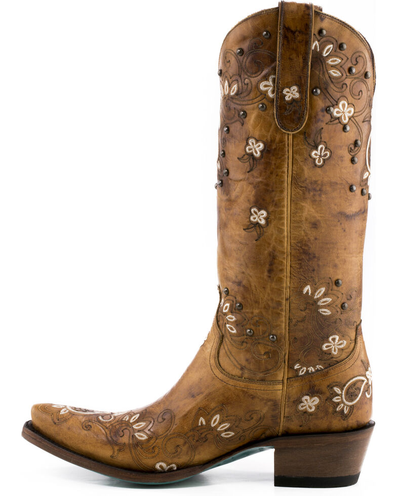 Lane Women's Sweet Paisley Cowgirl Boots - Snip Toe , Tan, hi-res