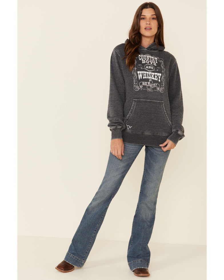 Cowgirl Hardware Women's Grey Country Boys & Whiskey Hooded Sweatshirt, Grey, hi-res