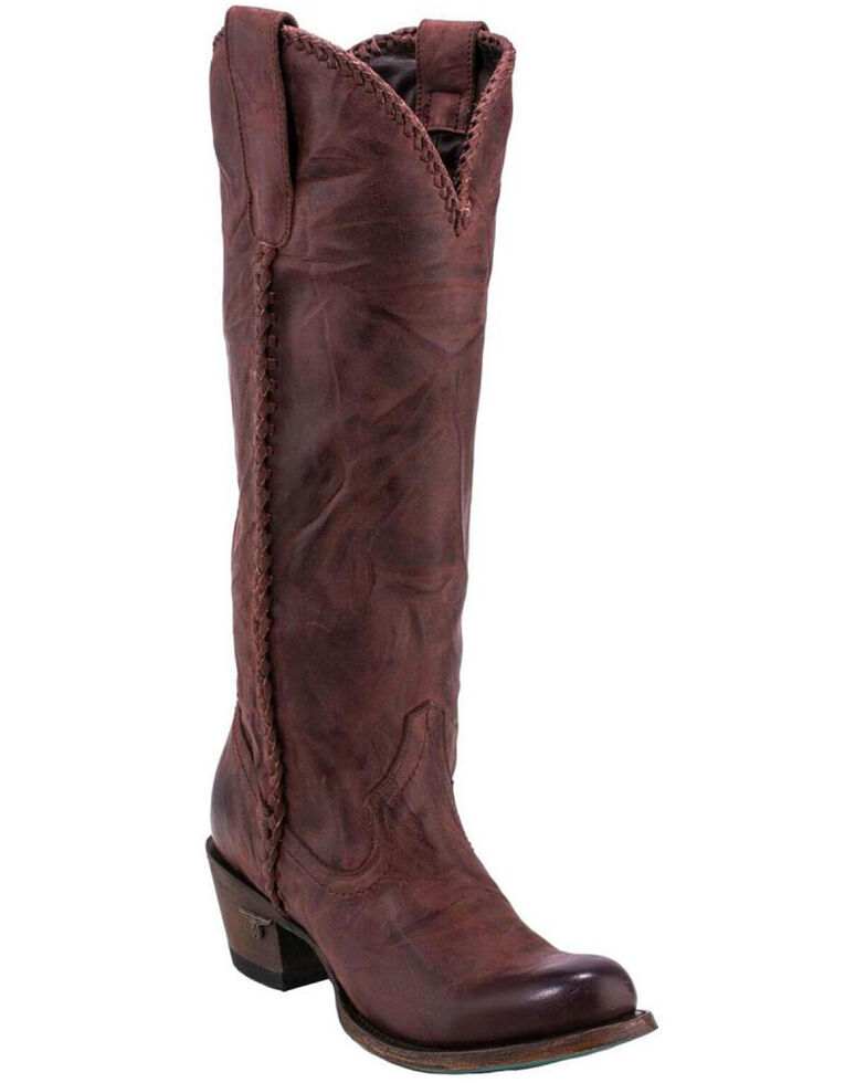 5b4fb80b8e9 Lane Plain Jane Wine Cowgirl Boots - Round Toe