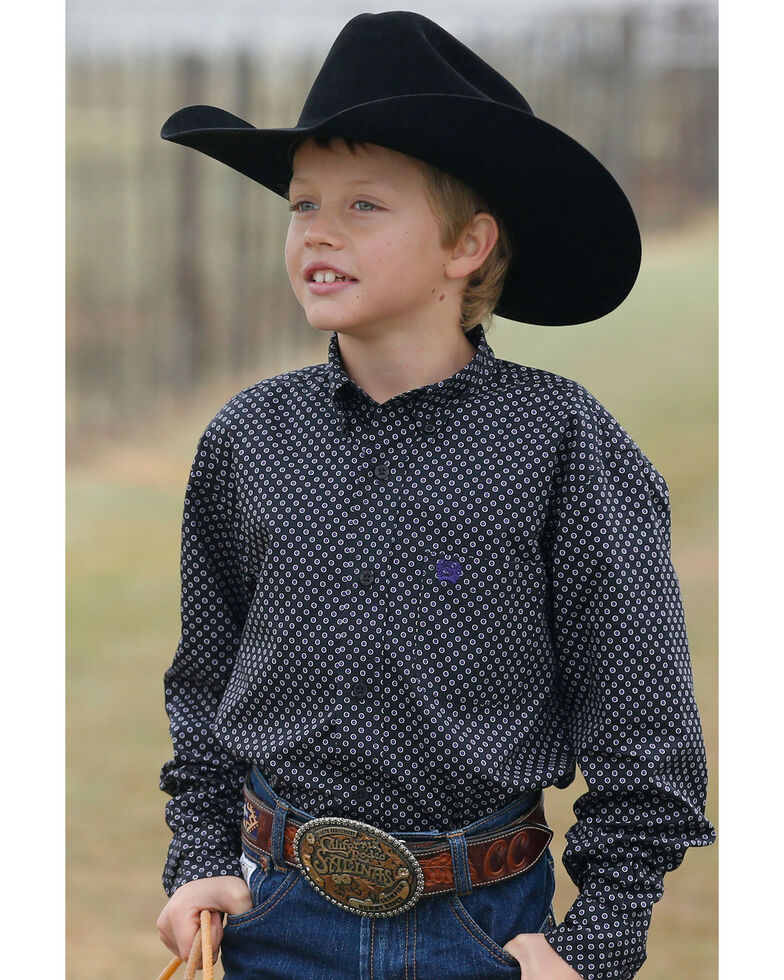 Cinch Boys' Black Geo Print Long Sleeve Western Shirt , Black, hi-res