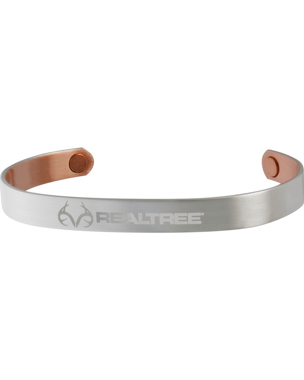 Sabona Realtree Brushed Silver Plated Copper Wristband, Silver, hi-res