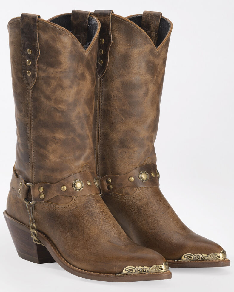Abilene Distressed Tan Harness Cowgirl Boots - Pointed Toe, Tan, hi-res