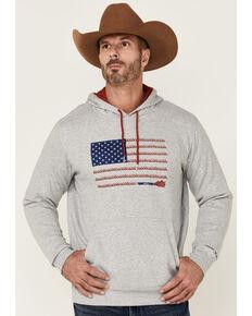 HOOey Men's Grey Rope Flag Graphic Pullover Hooded Sweatshirt , Grey, hi-res