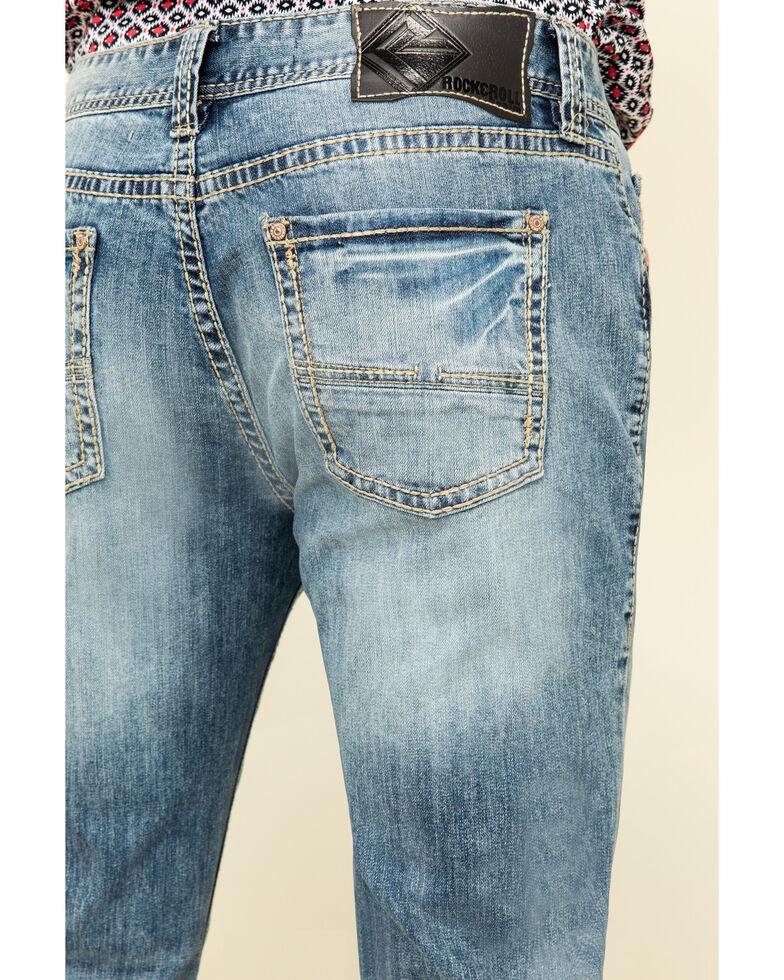 Rock & Roll Cowboy Men's Light Stretch Reflex Pistol Regular Boot Cut Jeans , Blue, hi-res