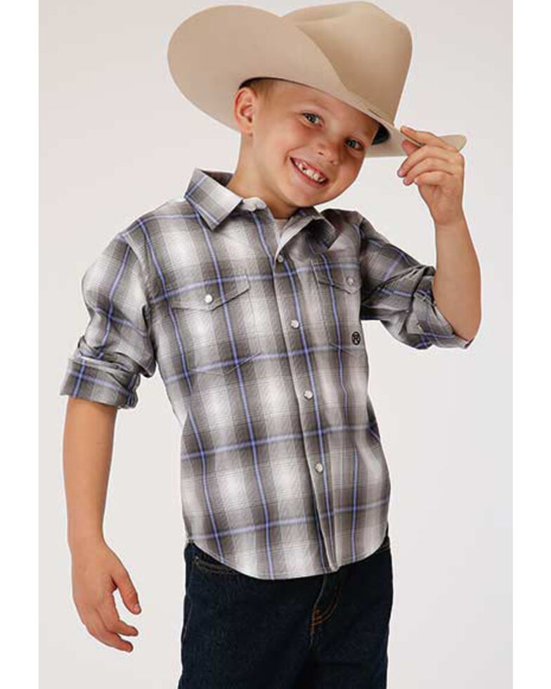 Roper Boys' Amarillo Grey Shadow Plaid Snap Short Sleeve Western Shirt , Grey, hi-res