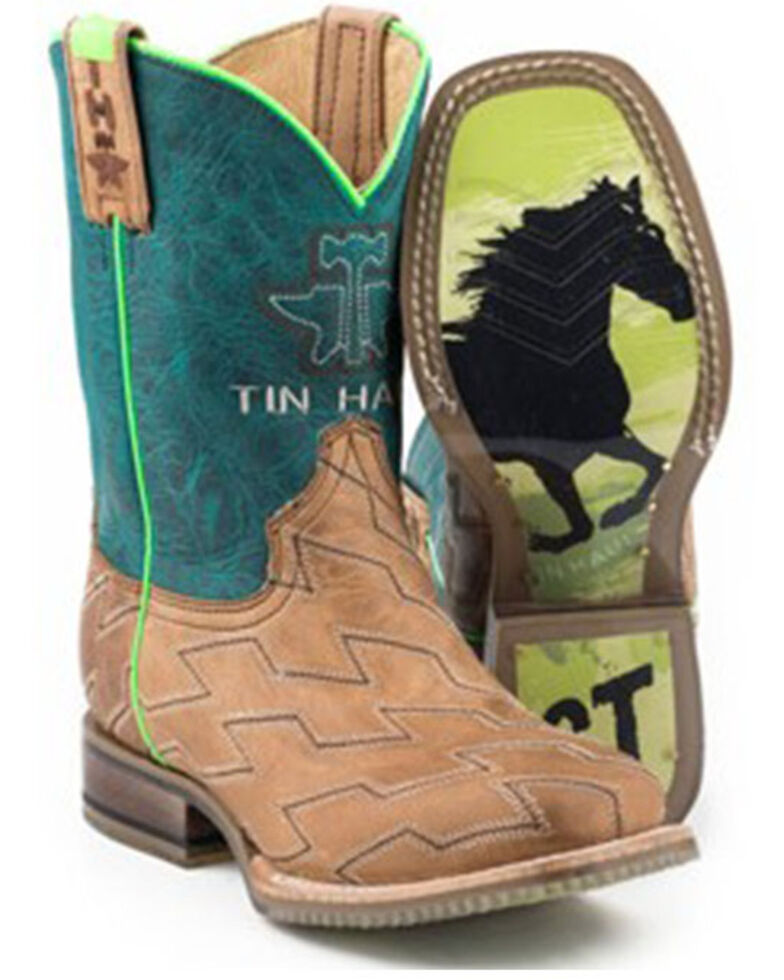 Tin Haul Boys' Horse Power Western Boots - Wide Square Toe, Tan, hi-res