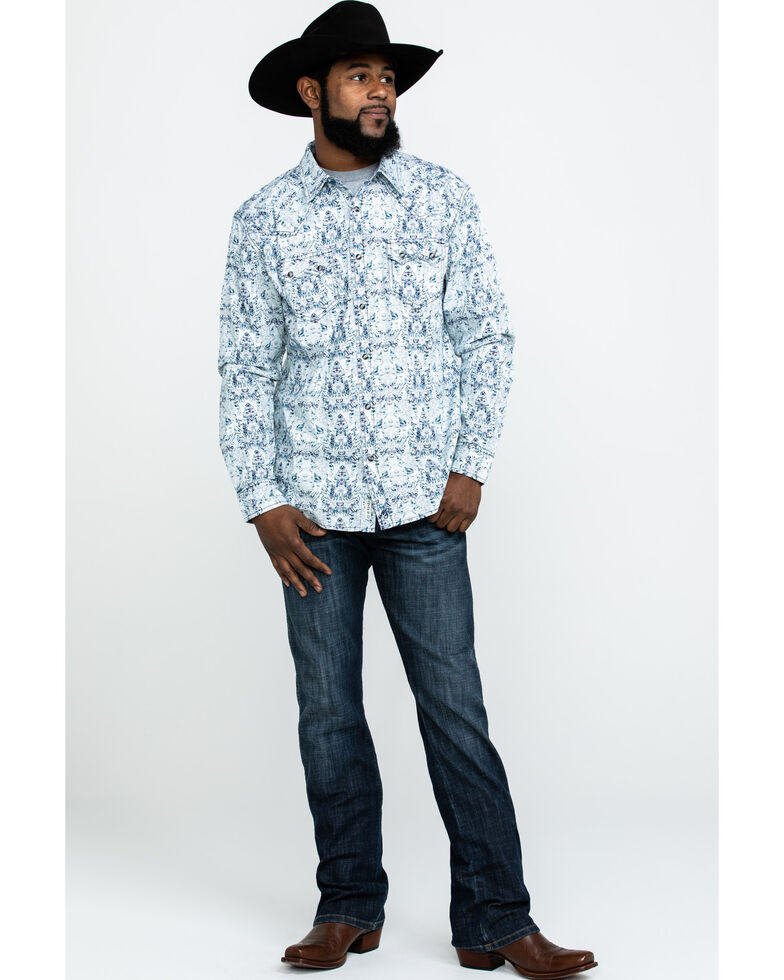Moonshine Spirit Men's Cancun Floral Print Long Sleeve Western Shirt , White, hi-res