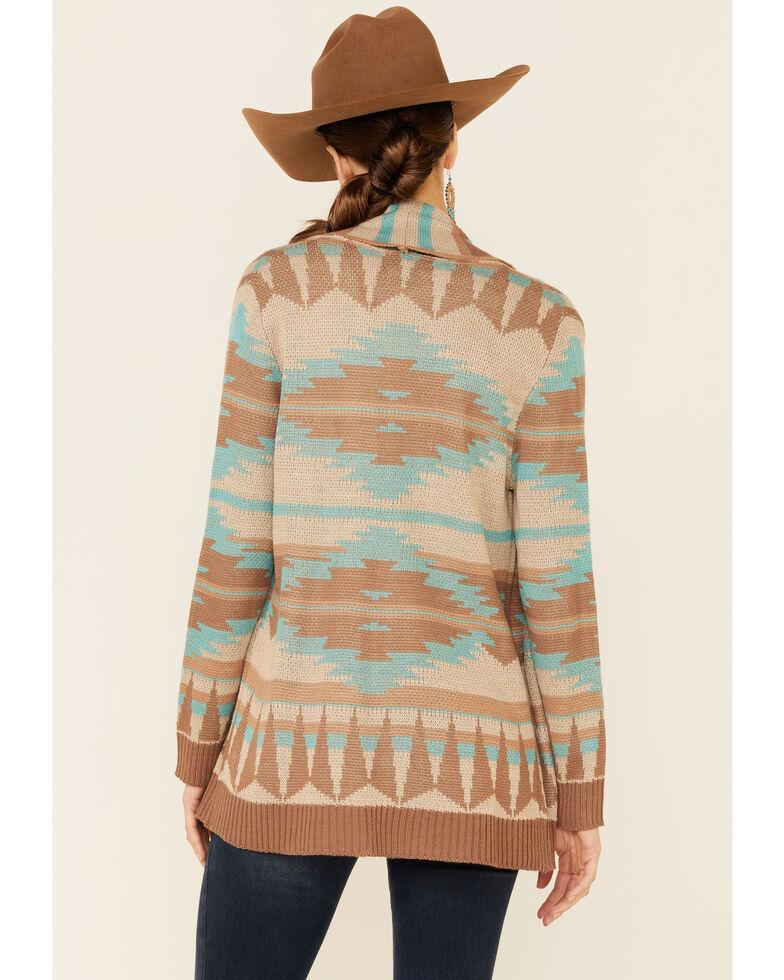 Rock & Roll Denim Women's Tan & Teal Aztec Print Open Front Cardigan, Tan, hi-res