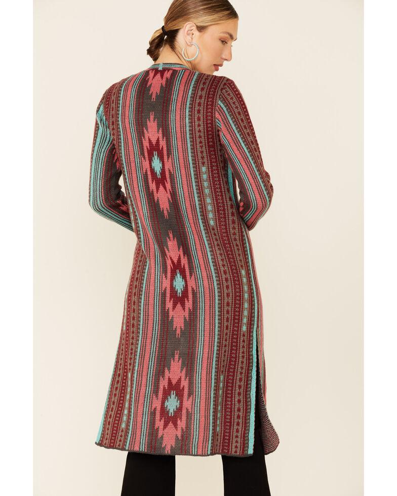 Rock & Roll Denim Women's Multi Aztec Print Duster , Coral, hi-res