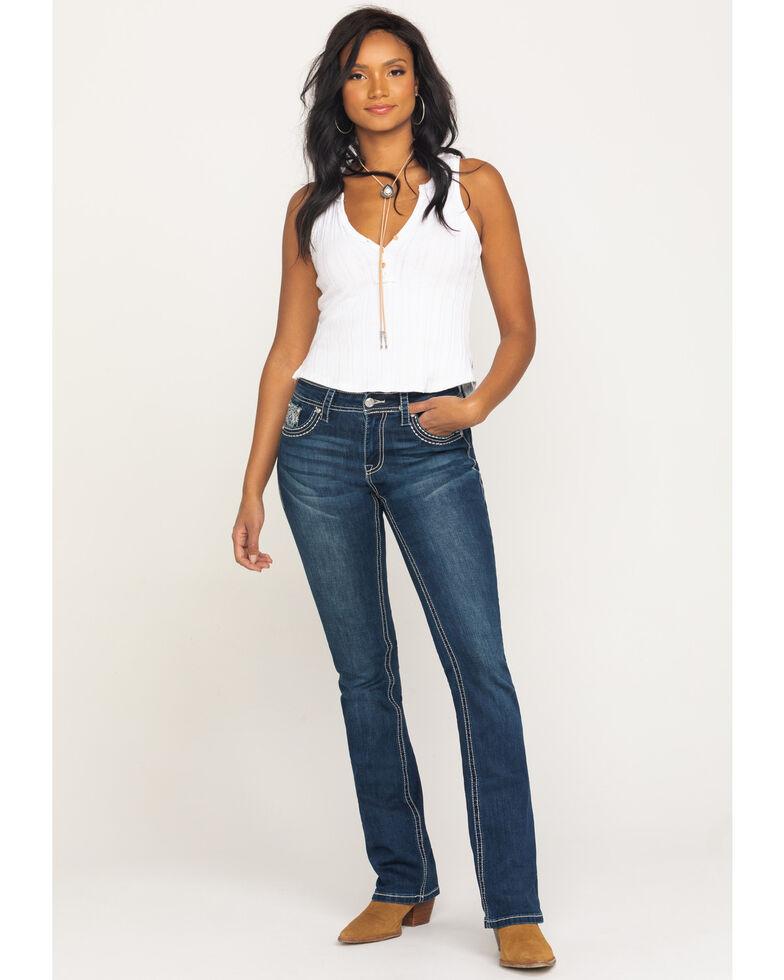 Grace in LA Women's Dark Flap Deco Bootcut Jeans, Blue, hi-res