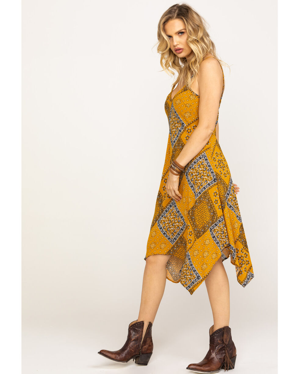 Nikki Erin Women's Patchwork Slip Dress, Dark Yellow, hi-res