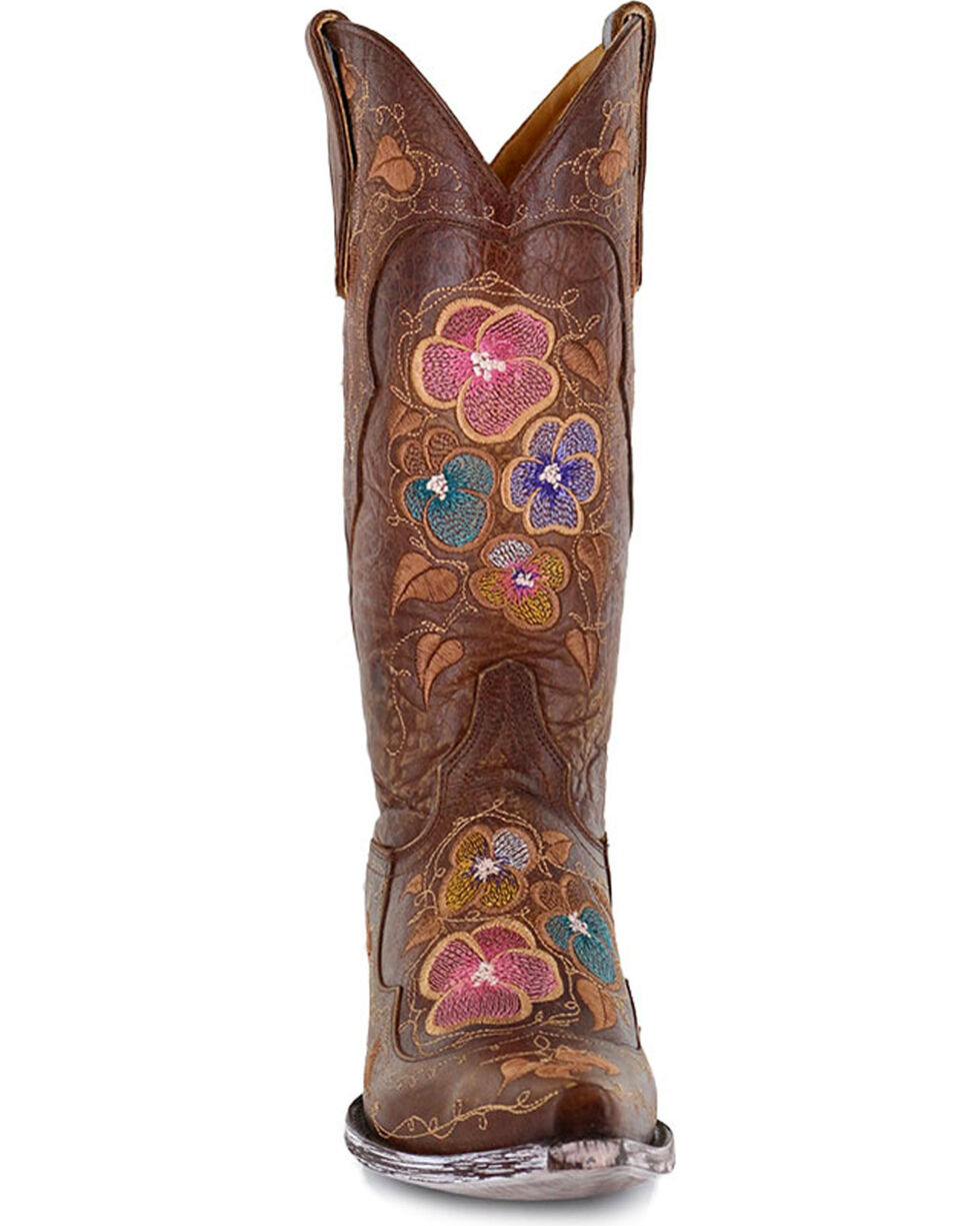 Old Gringo Women's Bronze Pansy Brass Flower Boots - Snip Toe , Bronze, hi-res