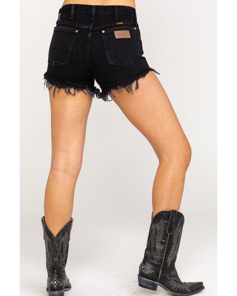 Wrangler Modern Women's Black Heritage Frayed Hem Shorts , Black, hi-res