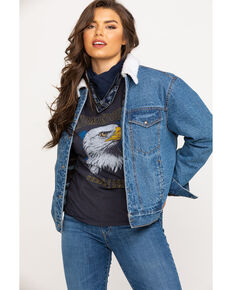 HOOey Women's Aztec Blanket Lined Sherpa Collar Denim Jacket, Blue, hi-res