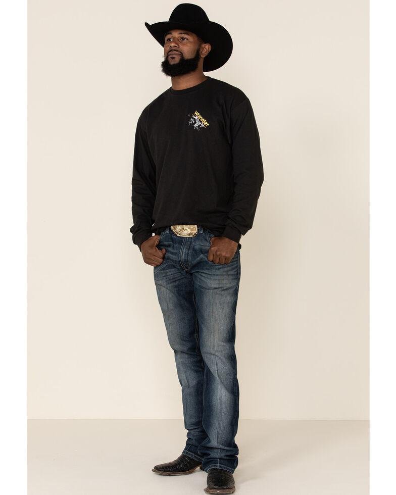 Wrangler Men's 8 Seconds Back Graphic Long Sleeve T-Shirt , Black, hi-res