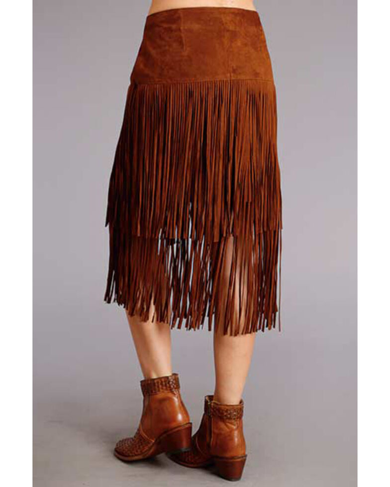 Stetson Women's Brown Fringe Suede Skirt, Brown, hi-res