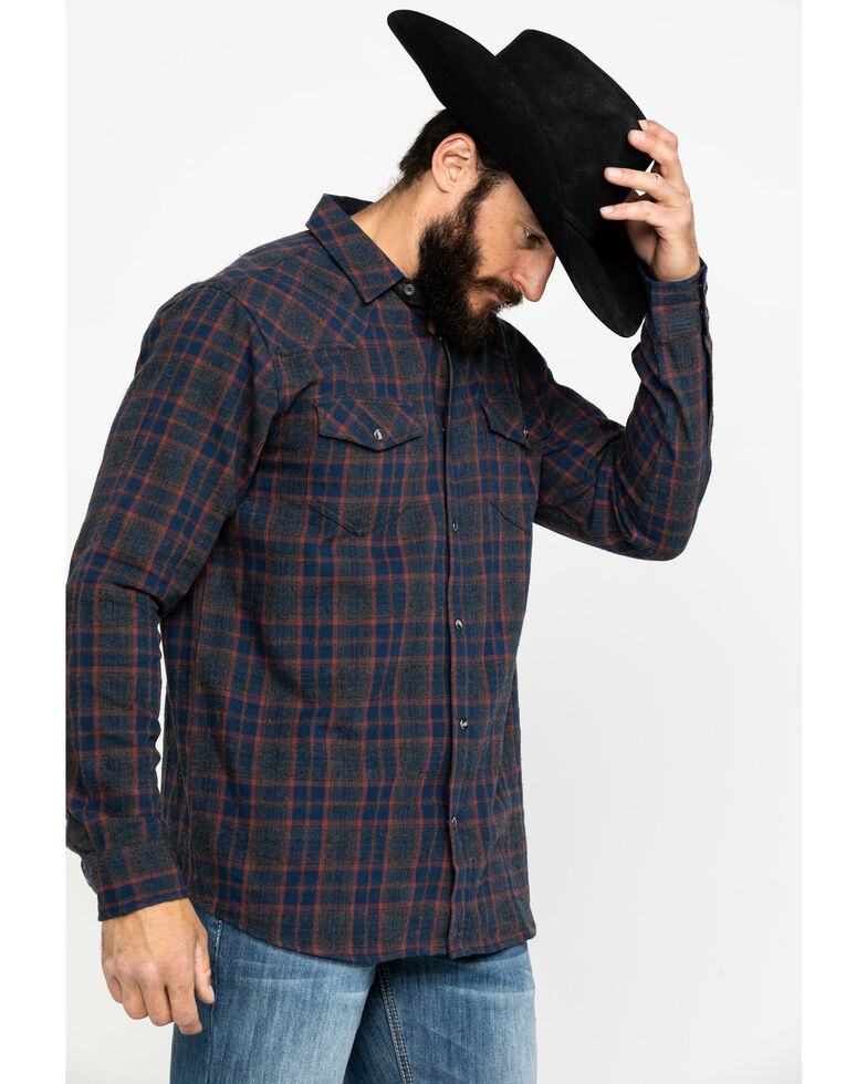 Cody James Men's Mountain Goat Plaid Long Sleeve Western Flannel Shirt , Grey, hi-res