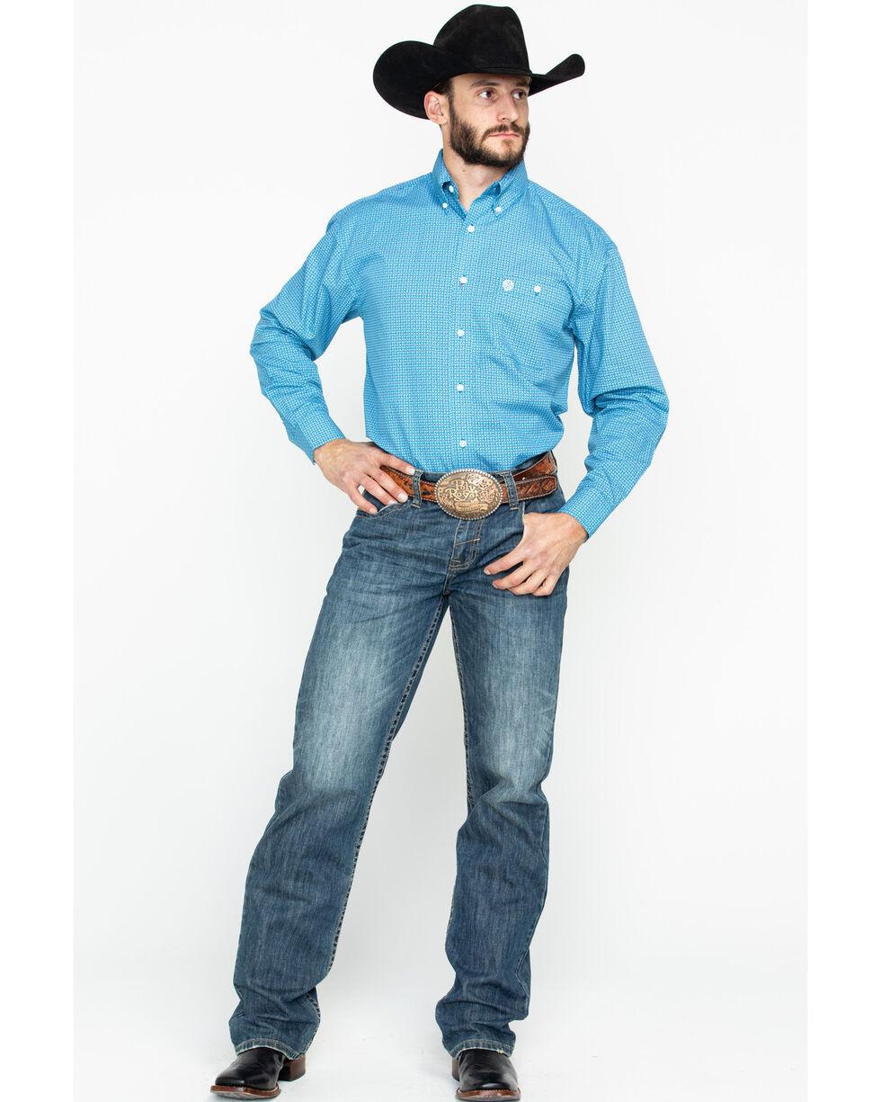 George Strait by Wrangler Men's Blue Paisley Print Long Sleeve Western Shirt, Blue, hi-res