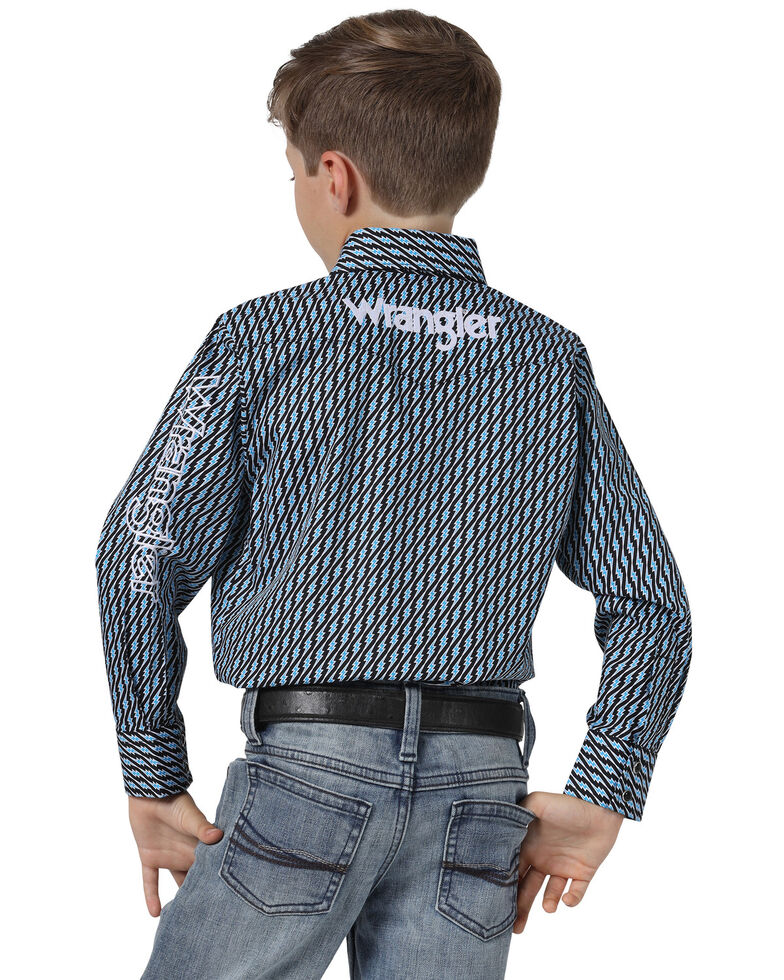 Wrangler Boys' Navy Geo Print Logo Long Sleeve Western Shirt , Navy, hi-res