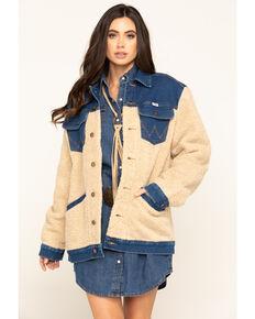 Wrangler Modern Women's Blue Jay Oversized Patch Sherpa Jacket, Blue, hi-res