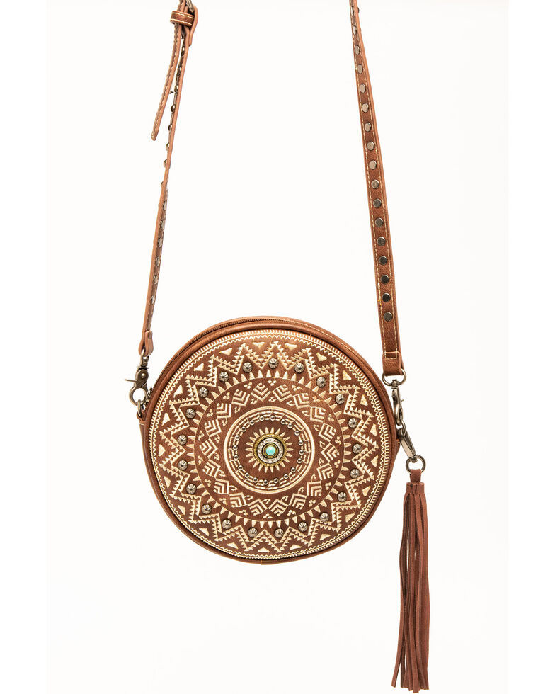 Shyanne Women's Aztec Studded Crossbody Handbag, Brown, hi-res