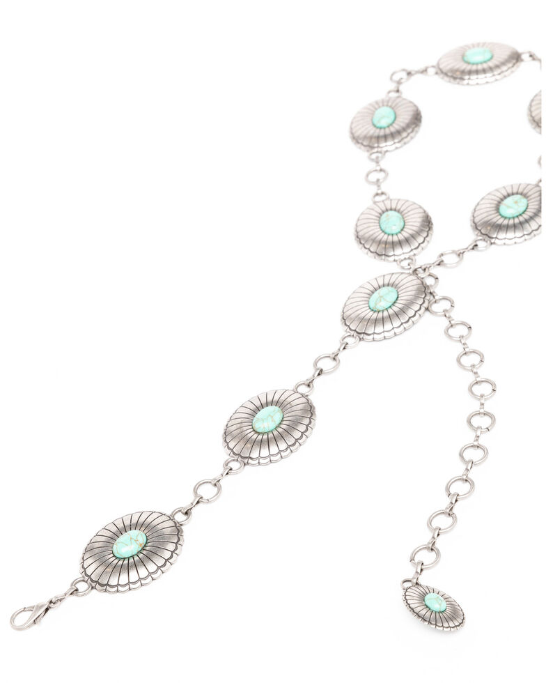 Shyanne Women's Turquoise Concho Link Belt, Silver, hi-res