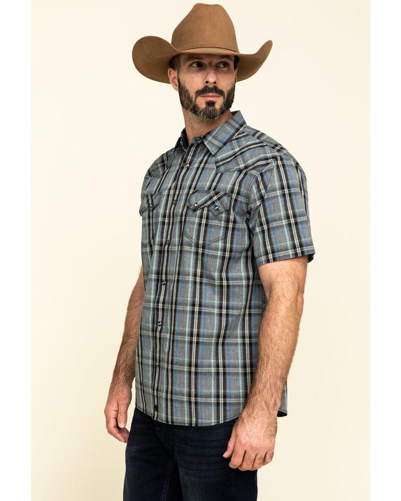 Moonshine Spirit Men's Storm Plaid Short Sleeve Western Shirt , Grey, hi-res