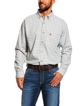 Ariat Men's FR Atlas Check Plaid Long Sleeve Work Shirt , Grey, hi-res