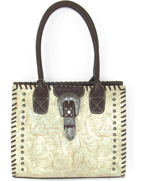 Savana Women's Ivory Tooled Whipstitch Tote, Ivory, hi-res