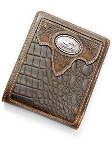 Cody James Men's Croc Embossed Bifold Wallet, Chocolate, hi-res