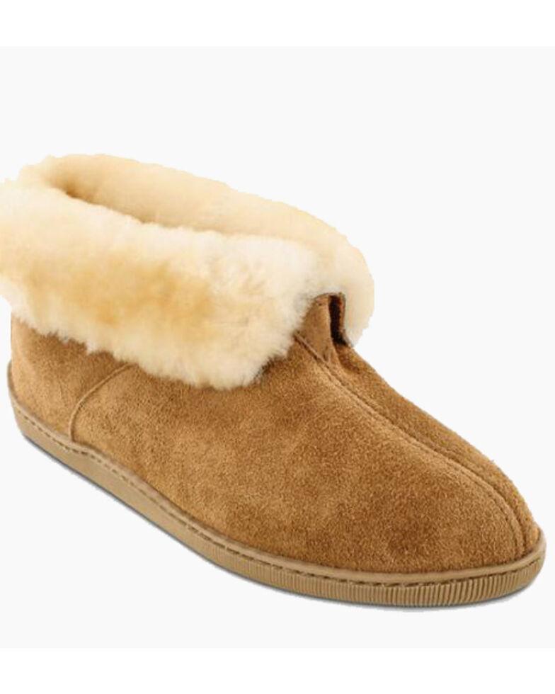 Minnetonka Men's Sheepskin Ankle Boots - Round Toe, Tan, hi-res