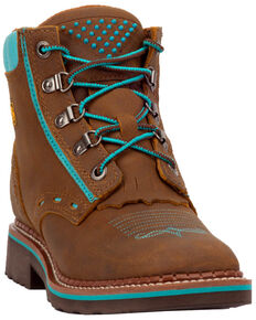 Dan Post Women's Janesville Work Boots - Square Toe, Tan, hi-res