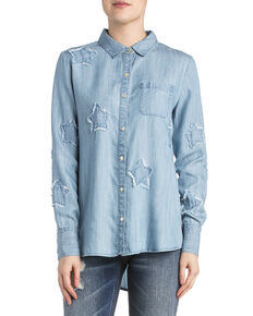 Miss Me Women's Denim Star Top , Indigo, hi-res
