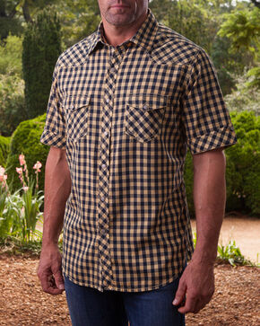 Ryan Michael Men's Wheat Gingham Short Sleeve Shirt , Wheat, hi-res