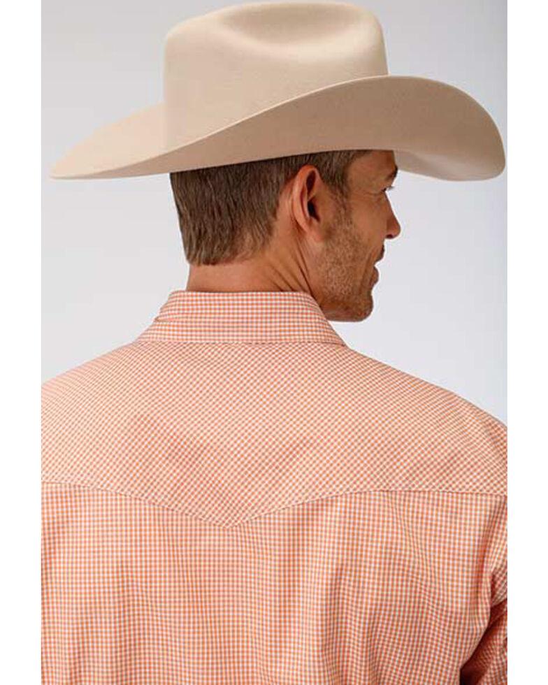 Roper Men's Amarillo Oasis Mini Check Plaid Snap Long Sleeve Western Shirt , Orange, hi-res