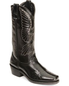 Laredo Eagle Stitch Cowboy Boots - Square Toe, Black, hi-res
