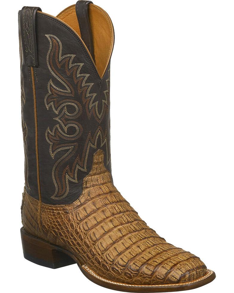 Lucchese Men's Handmade Fisher Hornback Caiman Leather Horseman Boots - Square Toe, Tan, hi-res