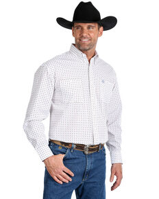 George Strait By Wrangler Men's Small Diamond Geo Print Long Sleeve Western Shirt - Tall , Burgundy, hi-res