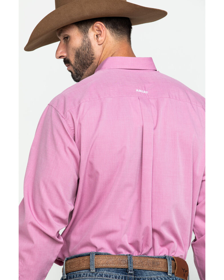Ariat Men's Wrinkle Free Solid Pinpoint Oxford Long Sleeve Western Shirt - Tall , Pink, hi-res