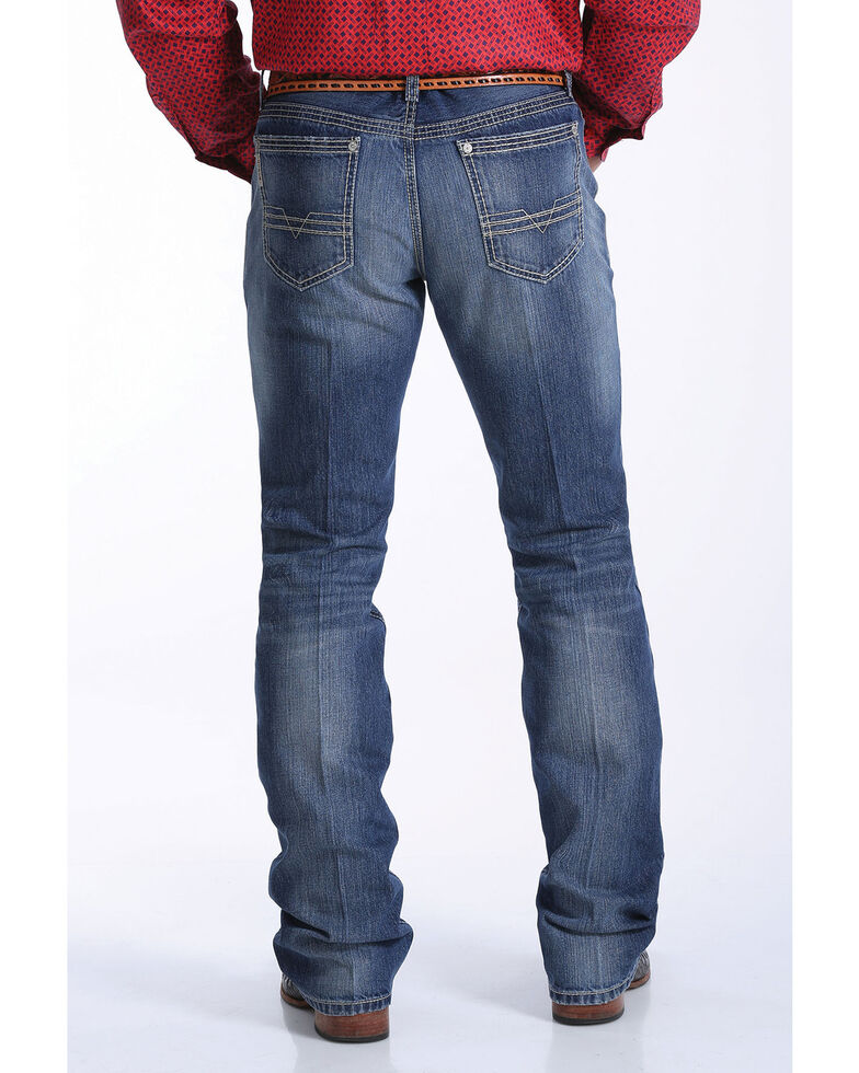 Cinch Men's Ian Medium Stone Slim Bootcut Jeans , Indigo, hi-res